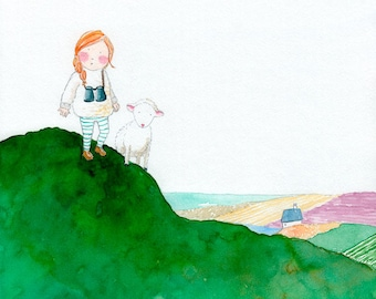 Very Far Away - Giclée Watercolor Print for Children's Bedroom Decor