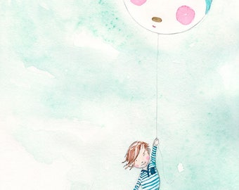 Up and Up  - Giclée Watercolor Print for Children's Bedroom Decor
