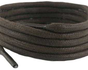 Laces  Brown waxed cotton 180 cm 5 mm round sold in 1 and 2 Pair Packs