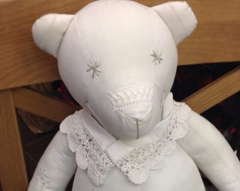White teddy bear bear old linens