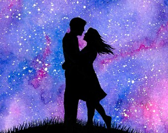 Love is LOVE Silhouette Night Sky Galaxy