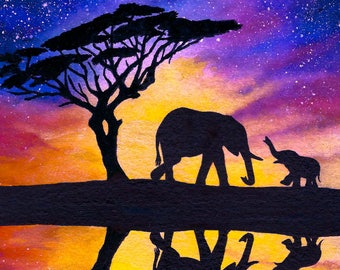Mother and baby Elephant Sunset