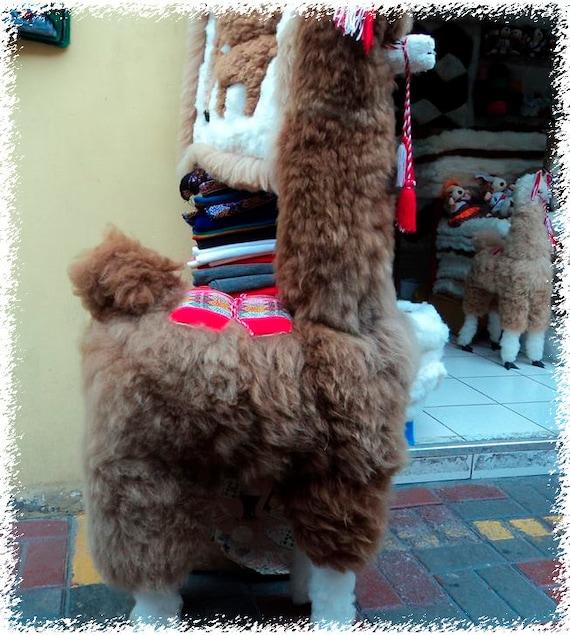 Large Brown Stuffy Alpaca 43 Alpaca Fur Stuffed Animal Etsy