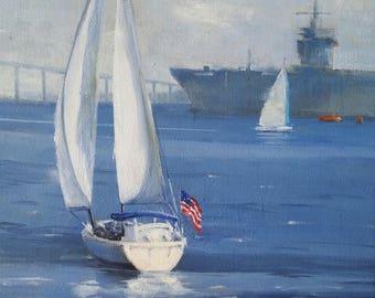 San Diego Bay - Original Oil Painting