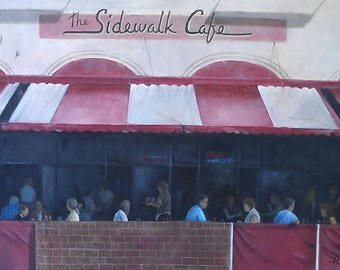 Sidewalk Cafe - Original Oil Painting