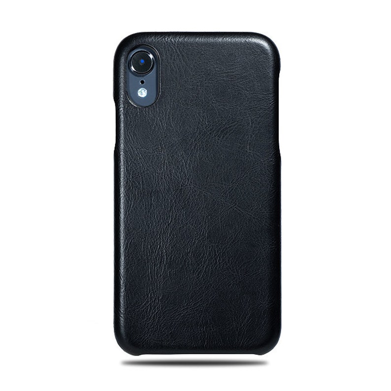 Monogram Black Leather Cover for iPhone XR Personalized All Black iPhone XR Leather Case Custom iPhone XR Cases with Name or Initials