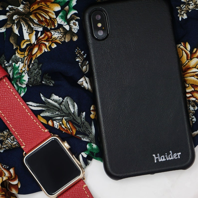 huge selection of d27f3 76dd2 Personalized All Black iPhone Xs / iPhone X Leather Case | Monogram Leather  Cover for iPhone X | Custom iPhone Xs Case with Name or Initials