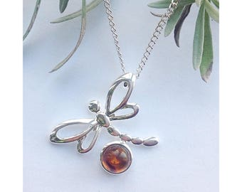 Dragonfly necklace, amber dragonfly necklace, outlander jewelry, amber necklace, gemstone necklace, Mother's Day gift, dragonfly necklace