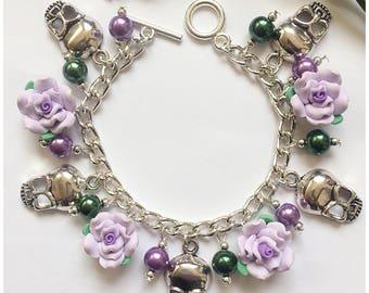 Lilac skulls and roses charm bracelet