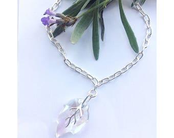 Sterling silver leaf bracelet made  using Swarovski ' Moonlight' crystal, crystal bracelet, leaf jewelry, boho jewelry