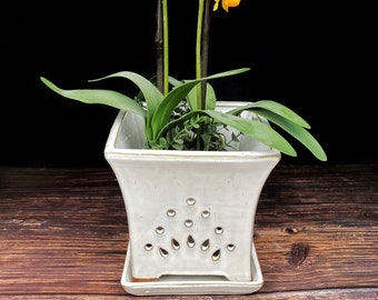 """Mauna Loa 2018 Edition (LARGE 8.0"""") Handmade Ceramic Square Orchid Pot With Attached Saucer, Orchid Planter, Glazed Pottery   Gift"""