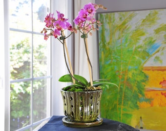 Handmade Honolulu Ceramic Orchid Pot With Attached Saucer and Drainage Hole, Glazed Pottery, Ceramic Planter  Gift