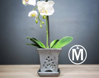 """Mauna Loa 2018 Edition (MEDIUM 5.5"""") Handmade Ceramic Square Orchid Pot With Attached Saucer, Orchid Planter, Glazed Pottery   Gift"""