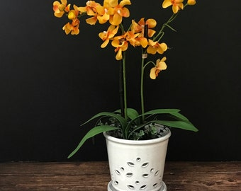 """Waikiki (LARGE 7.0"""") Handmade Ceramic Orchid Pot With Attached Saucer, Orchid Planter, Glazed Pottery   Gift"""
