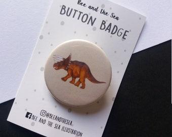 Triceratops Button Badge - Dinosaur Badge - Badge Lovers - Dinos - Dinosaur lovers - Gifts for dinosaur fans - presents - gift ideas