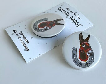 Dudley the donkey button badge - Cleethorpes