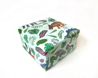 Tropical Herbivore Dinosaur Gift Wrap   Dinosaur Wrapping Paper   veggies   vegan dinos   plant based dinos   birthday supplies   pattern