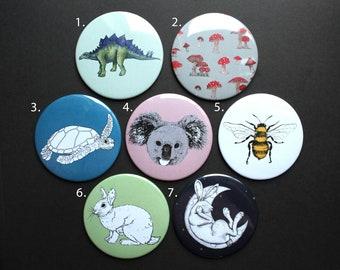 Illustrated Pocket Mirror   Bee, Koala, Turtle, Stegosaurus, Hare, Rabbit, Mushrooms Pattern