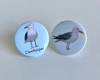 Seagull button badge or Cleethorpes seagull button badge