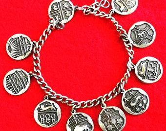 Canada 10 province emblem charms bracelet