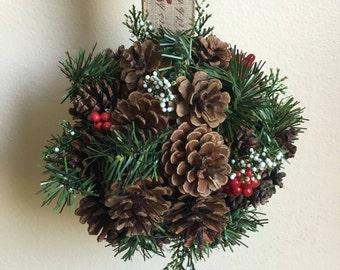 Evergreen Pinecone Holiday Kissing Ball