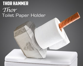 Thor Toilet Paper Holder - Thor Hammer - White Elephant Gift - Mjoinir Hammer - Bathroom Decor - White Elephant - Holder - Best Seller -