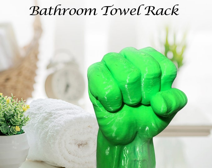 Featured listing image: Hulk Towel Holder - Hulk Smash Gift - Bathroom Towel Rack - Hulk Room Decor - Bathroom Towel Hook - Avengers Bathroom Decor - Nerd Decor