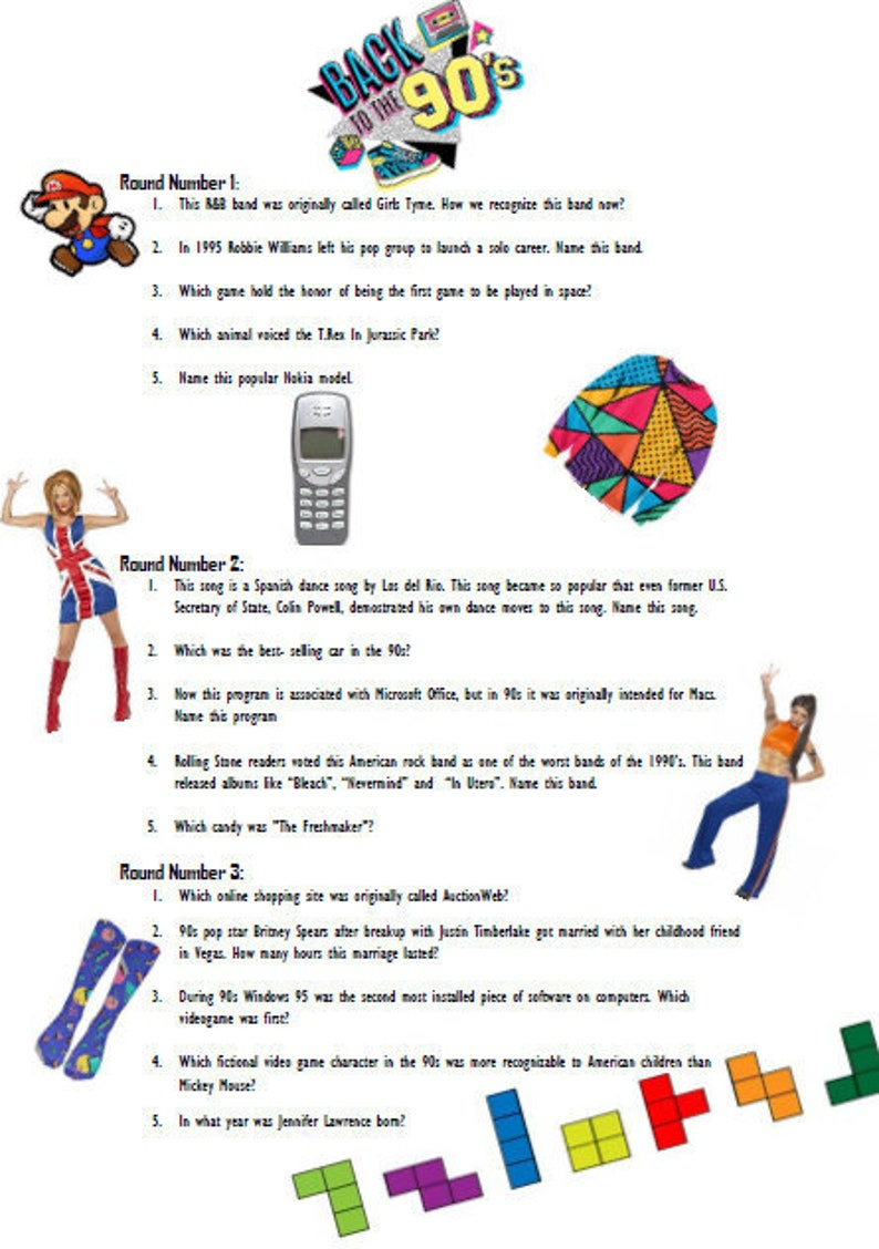 photo regarding 90s Trivia Questions and Answers Printable named Printable 90s quiz- marvel/solution sport