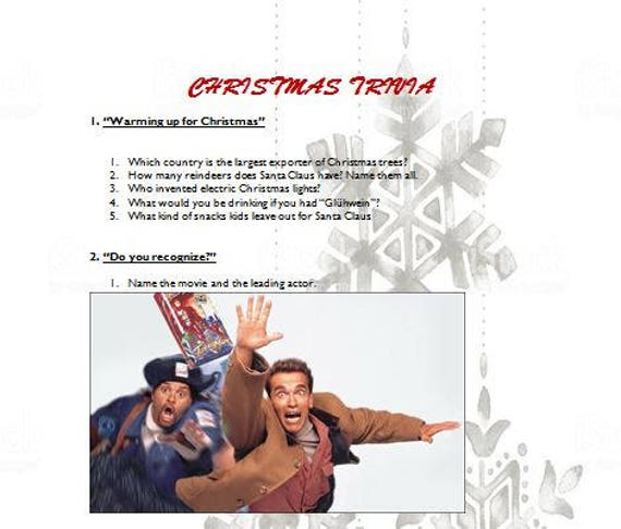 Printable Christmas holiday trivia game