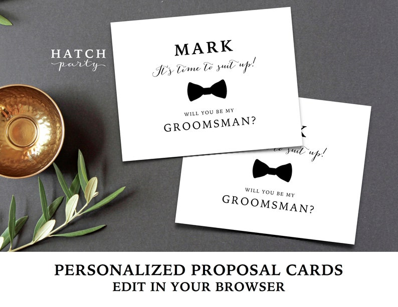 Groomsman Proposal Card Time To Suit Up Personalized Editable Template A2 Folded Cards Will You Be My Groomsman Edit Text Font Colors