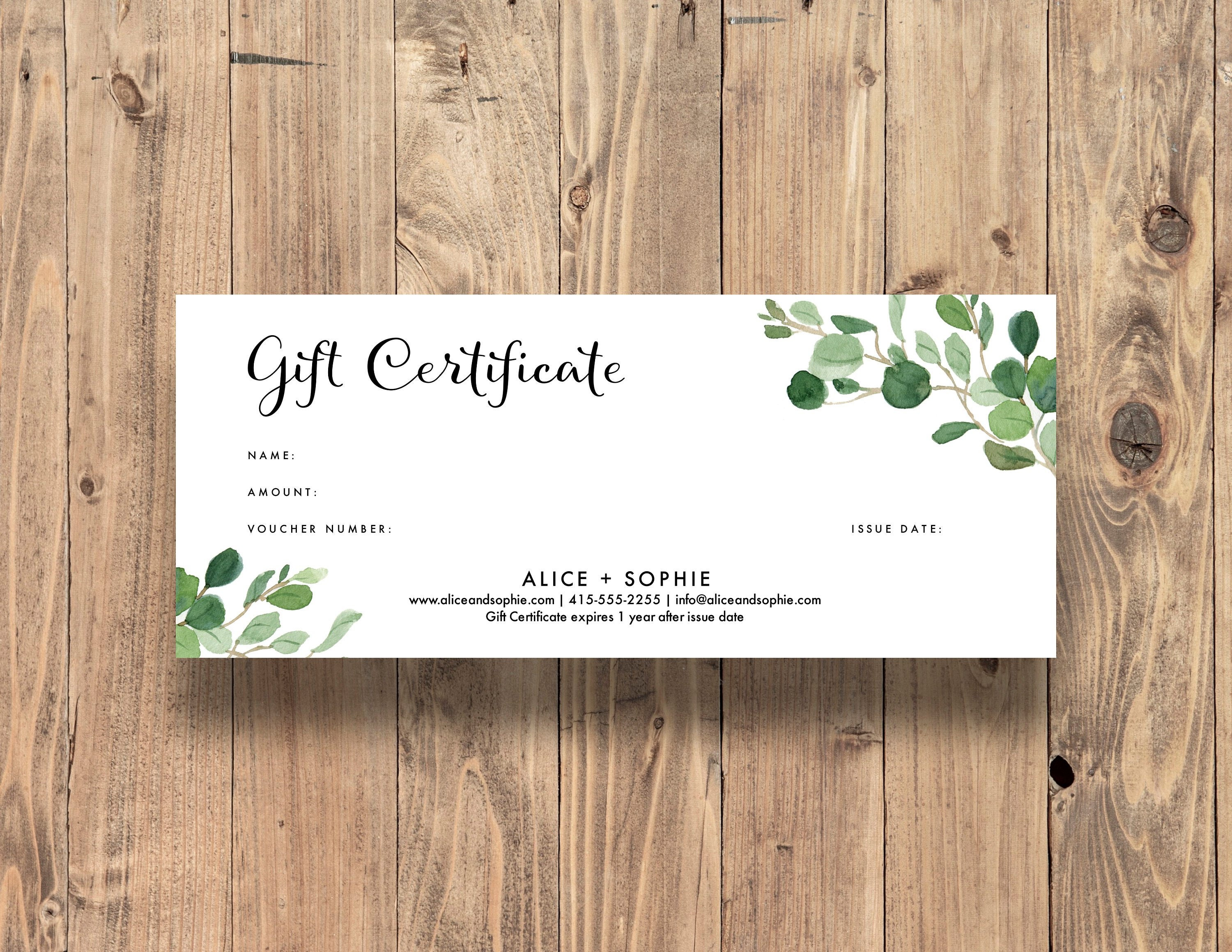 Editable Gift Certificate Template Change Fonts Font Etsy
