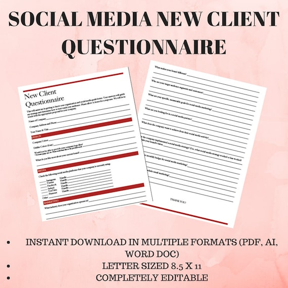 Social Media New Client Questionnaire | Etsy