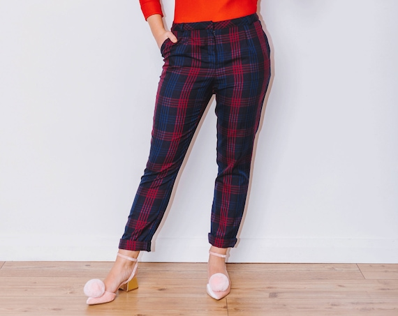 Vintage 1990s Blue and Red Tapered Tartan Cigarette Trousers, Size 8