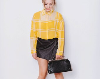 Vintage 1990's Yellow and White Checkered Blouse Size 10