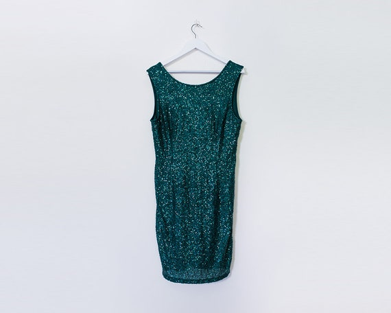 1990s Vintage Green Sequin Mini Dress, Size 16