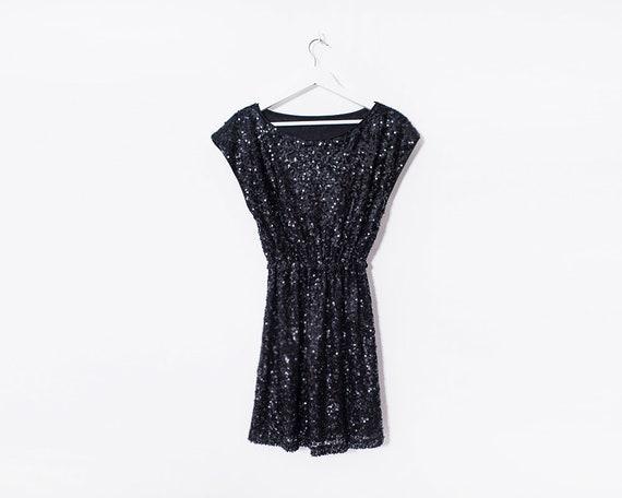 Retro 1990s Black Sequin Round Neck Mini Dress, Size 10