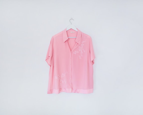 Vintage 1990s Baby Pink Floral Embroidered Short Sleeve Button Up Blouse, Size 20
