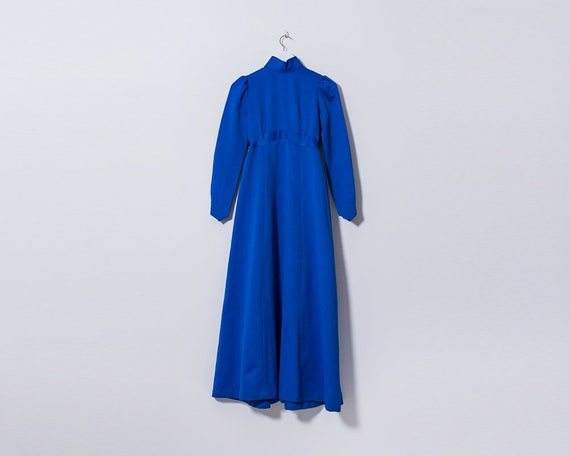 Vintage 1970s Royal Blue Edwardian Style Maxi Dress, Size 4 UK (XXS)