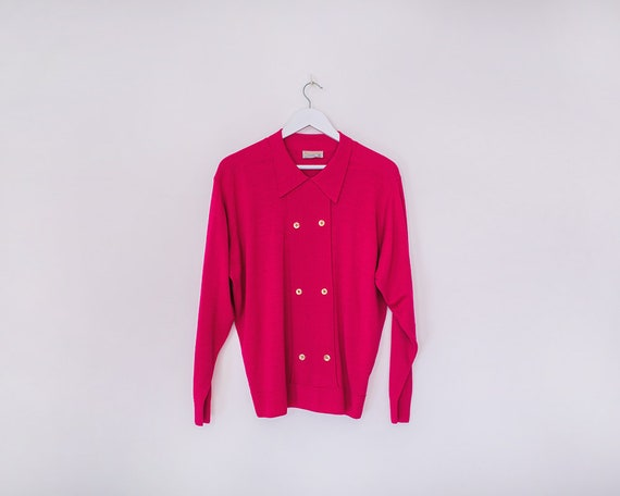 Vintage 1980s Hot Pink Collared Pullover Jumper with Gold Button Detailing, Size 16