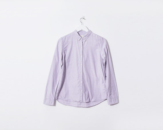 Vintage 1990s Lilac Long Sleeved Shirt with White Polka Dots, Size 10