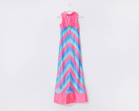 Vintage 1970s Pink and Blue Candy Chevron Stripe Maxi Dress, Size 6-8