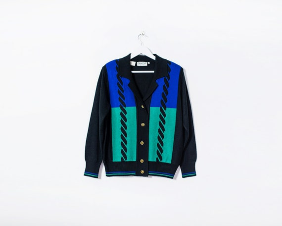 Vintage 1980s Black & Blue Button Up Knitted Cardigan with Shoulder Pads, Size 14