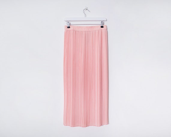 Vintage 1980s Baby Pink Crinkle Pressure Pleat Lined Midi Skirt, Size 12