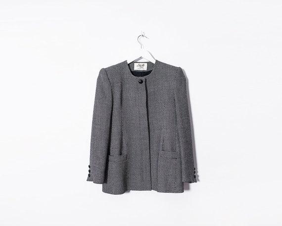 Vintage 1960s Woollen Black & White Round Collar Button Up Jacket, Size 8