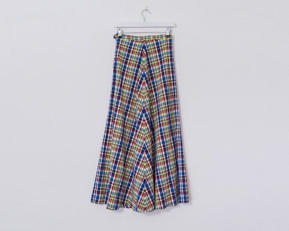 Retro 1970s A Line Multicoloured Plaid Checkered Patterned Maxi Skirt, Size 6