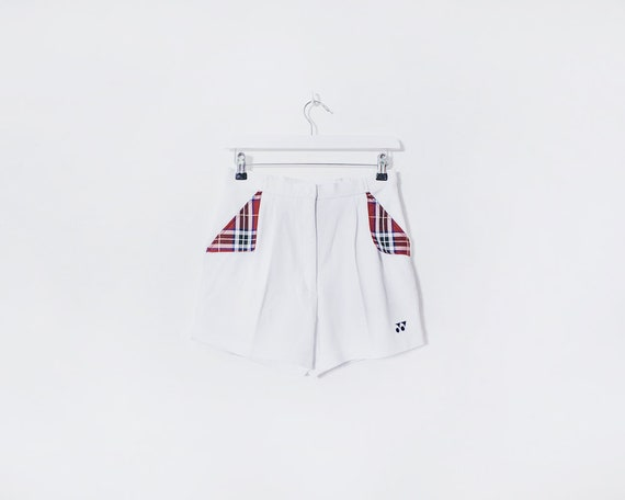 Vintage 1980s White and Tartan Tennis Sports Shorts, Size 8