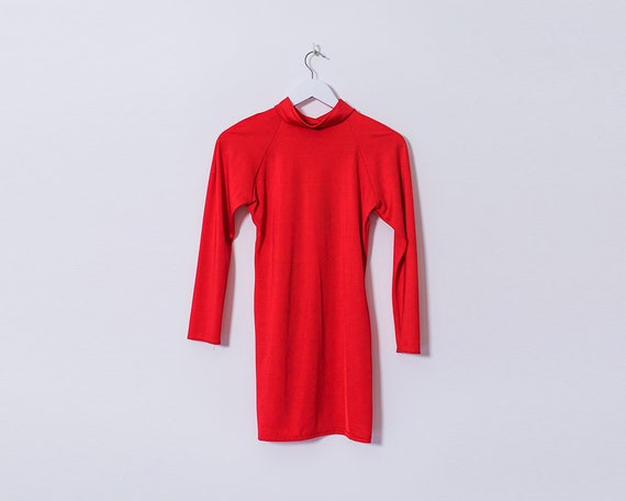 Vintage 1990s Bright Red Lycra Long Sleeved Rollneck Mini Dress, Size 12