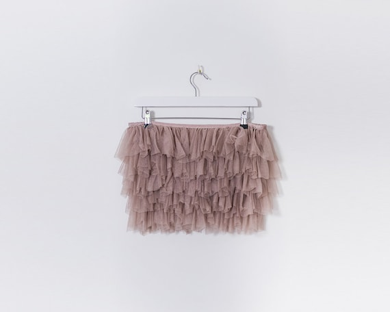 Late 90s Dusty Pink RaRa Tutu Tule Mesh Hotpants, Size 10