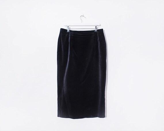 Vintage 1980s Black Velvet Midi Skirt, Size 14
