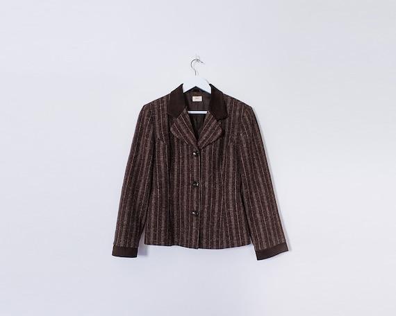 Vintage 1960s Brown Tweed & Suede Pinstripe Blazer Jacket, Size 10-12